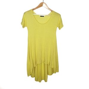 Theory Yellow Scoop Neck High Low Sweater